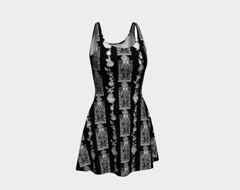 Floral Tarot Print - The Hierophant - Skater Dress - Flare Dress