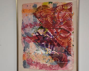 William Weege Relief on Handmade Paper Abstract Collage