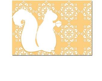 White squirrel in peach -  Kids Art Prints, design , silhouette, fall season, squirrel art, nursery decorating ideas