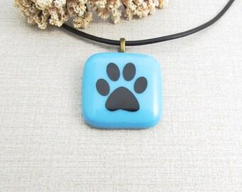 Blue Glass Paw Print Pendant - Fused Glass Paw Print Necklace - Bright Blue Dog Pendant - Fused Glass Animal Jewelry