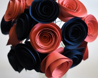 Coral and Navy Wedding, Wedding Flowers, Paper Flower Bouquet, Paper Roses