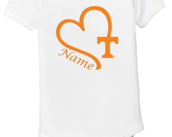 Tennessee baby etsy tennessee volunteers personalized heart baby bodysuit negle Image collections