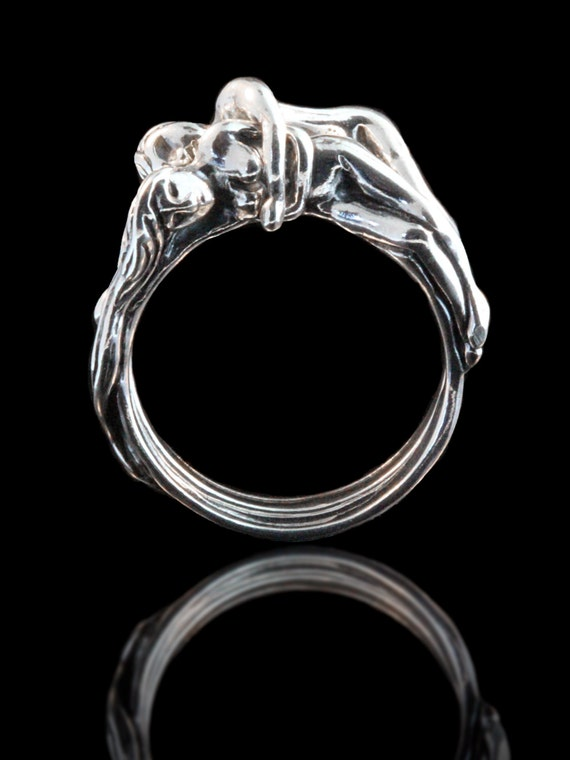 Great Wedding Ring People Ring Puzzle Ring Silver Spooning Lovers