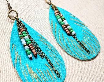 Turquoise Gold Earrings / Faux Leather Earrings / Vegan Leather / Lightweight  Earrings / Leaf Design / Boho Earrings / Boho Style