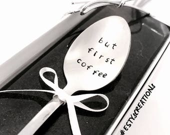 But first coffee metal teaspoon a terrific gift for coffee lovers. Fun gifts gift for her gift for him unique gift for mom hand stamped