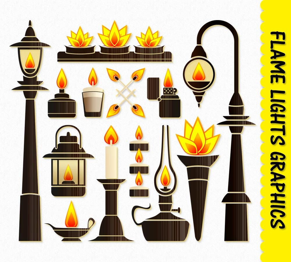 Fire Flame Lights Clip Art Graphic Fire Clipart Scrapbook Candle ... for Fire Lamp Clipart  174mzq