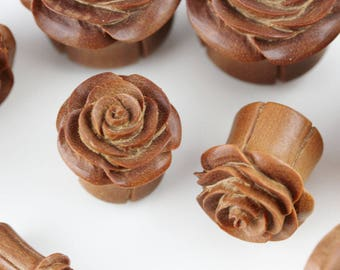 Carved Wood Rose Plugs - PA61