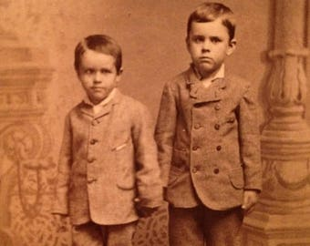 ON SALE Ipava Illinois IL Antique Late 1800's Cdv Carte de Visite Photograph Photo Two Cute Little Boys in Suits