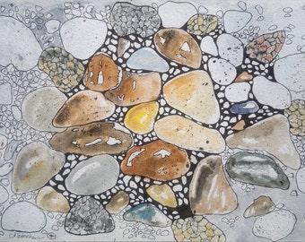 Between pebbles- Original watercolour and ink painting