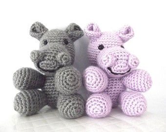 Plush Hippo Crochet Pattern Crochet Hippo Pattern Stuffed Animal Childrens Toy Hippo Toy Amigurumi Crochet Hippopotamus Instant Download