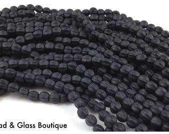 Czech Glass Melon Bead, 5mm Round, 50 bead strand, Matte Jet Black