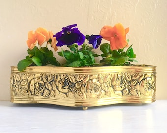 Mid-Century Brass Planter Gold Metal Roses Curvy Curved Rectangular Plant Pot Holder Large Floral Hollywood Regency