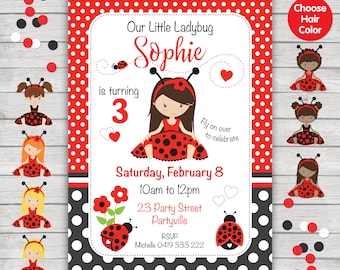 Ladybug Invitation. Ladybug Party Invitation. Ladybug Birthday Party Invitation. Customized Digital Download.