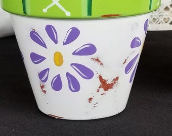 "Hand Painted Distressed 4"" Clay Flower Pot, Purple Daisy"