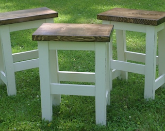 """Custom Bar Stools, Paint to Order, Backless, 29"""" Bar Stool, 24"""", Rustic, Counter Height, Square Seat, Round, Rectangle, Farmhouse Stools"""