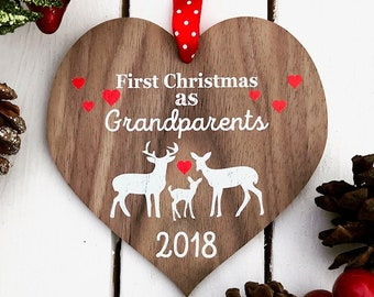 New Grandparents, First Grandparents Christmas, Christmas gift, Baby keepsake, Grandparent gift,  Personalised Christmas decoration 18CD