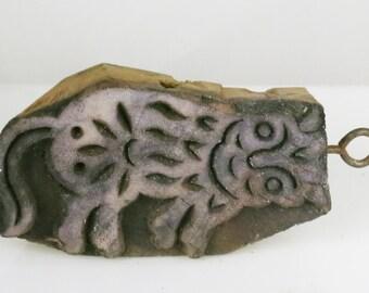 Folk Art Wooden Design Stamp - Smiling Feline - Design Stamping Tool for Clay / Paper / Textiles / Batik / Scrapbooking / Texture Stamp