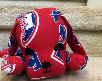 Little Wide-Eyed Philadelphia Phillies Puppy, Baby Shower Gift, Red and blue, Baseball