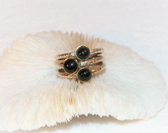 Size 7 1/4 Sterling Silver Ring With Black Onyx, Old Stackable Ring with three black onyx stones