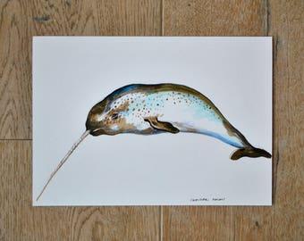 Narwhal,narwhal drawing, original artwork, animal art, nature wall art
