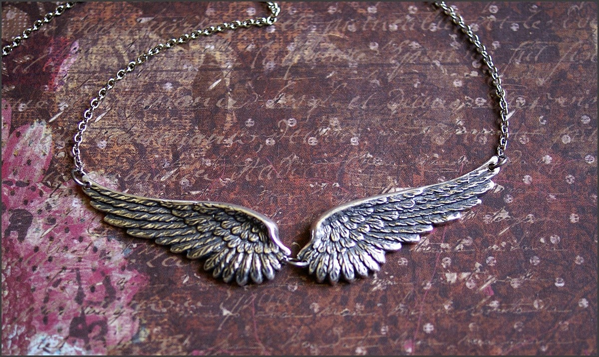 chain model guardian charm shown pendant winged on dogeared sterling necklace wings angel a silver
