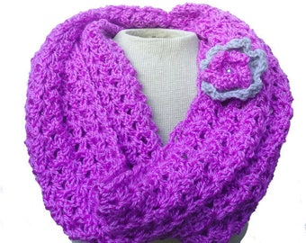Purple Infinity Scarf, Crochet Scarf, Handmade Women Scarf, Chunky Scarf, Neck warmer Cowl Scarf, Crocheted Scarf with  Flower, Winter Scarf