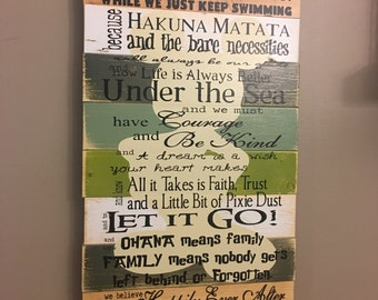 Disney Quotes Disney Family Planked Wood Greens and Browns