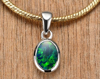 Solitaire Opal Pendant 925 Sterling Silver Unique Natural Australian Opal Jewelry SKU: 7x5_925