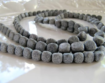 Black Spot Feldspar Beads in Grey, Small to Medium Pebbles, 1 Strand 15 Inches, Approx 60 Beads