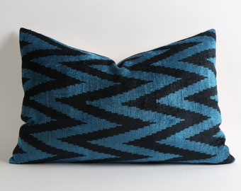 Navy Chevron Pillow Cover - Blue Chevron Pillow - Blue Chevron Pillow Cover - Blue Velvet Pillow - Blue Ikat Pillow - Blue Black Pillow