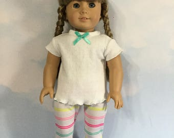 """2 piece set leggings and top fits 18"""" American girl dolls and dolls similar to size"""
