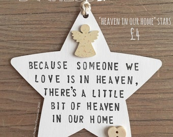 Heaven in our Home - Wooden star