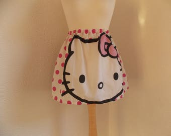 cute handmade hello kitty skirt vintage upcycled fabric one size