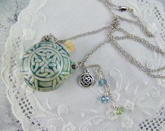 Celtic Knot Necklace, Bottle Necklace, Ash Urn, Essence Necklace, Vessel Necklace, Flask Necklace, Ceramic Bottle Necklace, Celtic Necklace