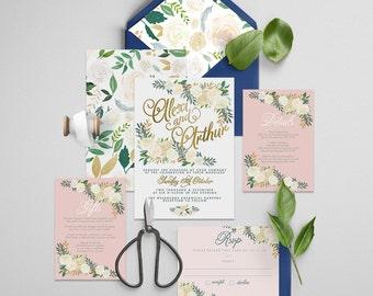 "Gold Foil Invitation Printable Wedding Invitation Suite ""Commodity Foil"" - Printable DIY Invite, Affordable Wedding Invitation"