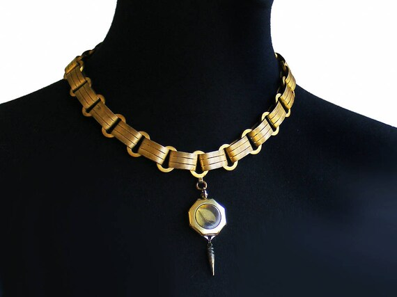 Machine Age Gilded Bookchain Collar with Unique Antique Watch Case Locket | Heavy Steampunk Collar | Cleopatra Cosplay Necklace - 18 Inch