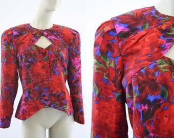 Vintage Raul Blanco for Saks Fifth Avenue Red Silk Floral Print Long Sleeve Peek-a-Boo Retro Woman's Blazer