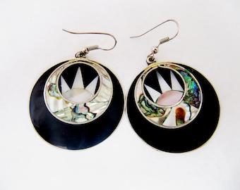 Vintage Silver Abalone Earrings, Alpaca Silver Mother of Pearl Earrings, Black Art Deco Style Earrings, Abalone Mexican Jewellery