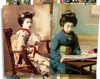 Vintage Geishas images for cards, ACEO, ATC, scrapbook and more Digital Collage Sheet 3 X 2 inch No.750