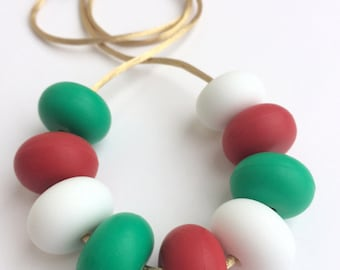 CHRISTMAS EDITION - Silicone Teething Necklace / Nursing Necklace