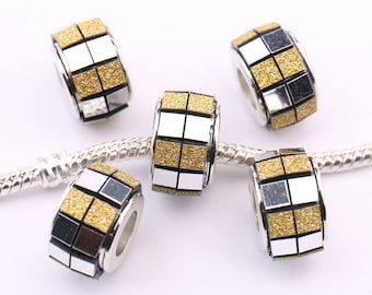 European Bead Murano Bracelet Frosted Gold and Silver
