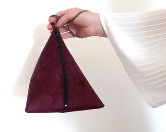 clutch, shoulder bag purple, prune