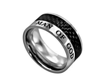 """Carbon Fiber Ring """"Man Of God"""""""