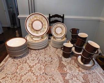 Jamestown China Ironstone brown maple leaf dinnerware 58 pcs service for 8 plus