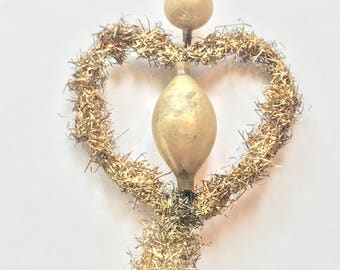 Victorian Antique Ornament, Fancy tinsel Heart Ornament with Glass Beads and Tail, Made in Germany