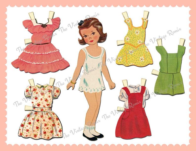 Instant Download Printable Paper Doll Digital Collage Sheet