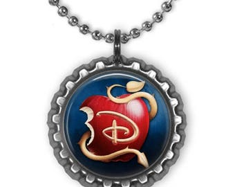 Disney DESCENDANTS APPLE 3D Bottle Cap Charm Necklace | Gift for Kids | Birthday | Christmas