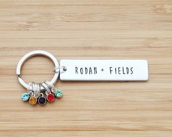 hand stamped rodan and fields keychain   rodan + fields - rectangle