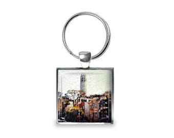 Coit Tower in San Francisco - Glass Photo Keychain - Handmade