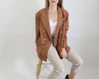 Oversized/Slouchy Vintage Rust Coloured Checkered Blazer